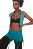 Candy Raver Mini Waistcoat EDM Coachella Top in Turquoise - Lace Burn Waistcoat (SURBURN) by Altshop UK