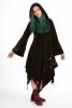 Velvet Faery Goddess Jacket, boho Goa psytrance coat in Black with Maroon hood lining - Hecate Coat (TJK294) by Altshop UK