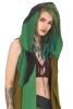 Hooded Pagan Pixie Fleece Open Drape Cardigan in Green - Fleece Vest (WCA1017) by Altshop UK