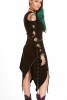Medieval Psy Dress, braided tribal festival pagan gothic dress in Black - Robin Hood Dress (WDR3391) by Altshop UK