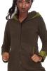 Large Hooded Fleece Coat, Bohemian Hooded Hippie Boho Coat in Green - Dots Jacket (WJK1283) by Altshop UK