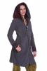 Large Hooded Fleece Coat, Bohemian Hooded Hippie Boho Coat in Grey - Dots Jacket (WJK1283) by Altshop UK