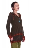 Boho Summer Psy Trance Jacket, Hooded Ladies Hippy Jacket in Brown - Fae Fleece Jacket (WJK3082) by Altshop UK