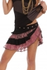 LACE RUFFLE FLAMENCO MINI SKIRT - Black & Dusty Pink