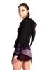 CROP CIRCLE PSY JACKET, pixie fleece - Black & Purple
