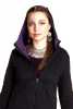 CROP CIRCLE PSY JACKET, pixie fleece - Black & Purple
