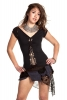 BRAIDED PIXIE TOP, psy trance slashed - Black