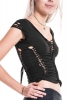 Braided Psy Trance Top, pixie slashed top in Black - WS LT11 by Altshop UK