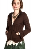 PIXIE HOOD CYBER PSY TRANCE JACKET - Brown