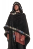 Mens Furry Pixie Wizard Hooded Poncho, Pagan Cloak in Black with Colour Trim - Wizerd Poncho (WSWIZP) by Altshop UK